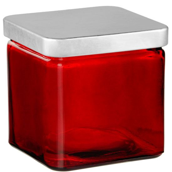 Private Label Red 20oz Square Jar - 2 Wick with Silver Lid - 6 Candles Per Order