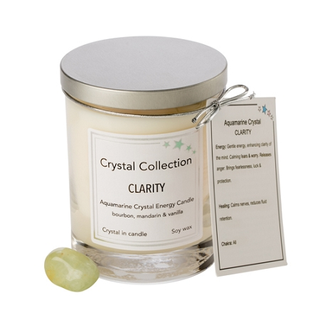 Wholesale Aquamarine Crystal Candle - CLARITY - 13 oz Classic