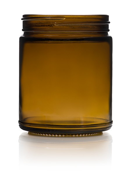 Hand Poured Scented 9 oz Amber Straight Sided Jars  - Case of 12