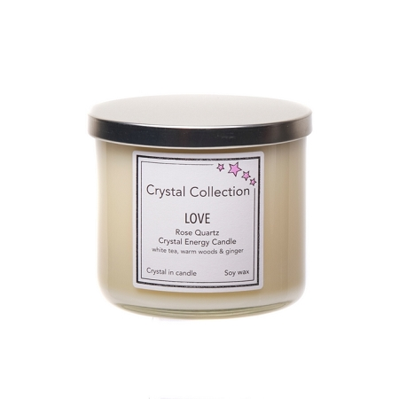 Wholesale Rose Quartz Crystal - LOVE- Energy Candle - Jumbo 18 Ounce 3 wick