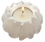 6 White Selenite Carved Sphere Tealight holders