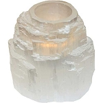 6 White Selenite Iceberg Tealight Candle holders