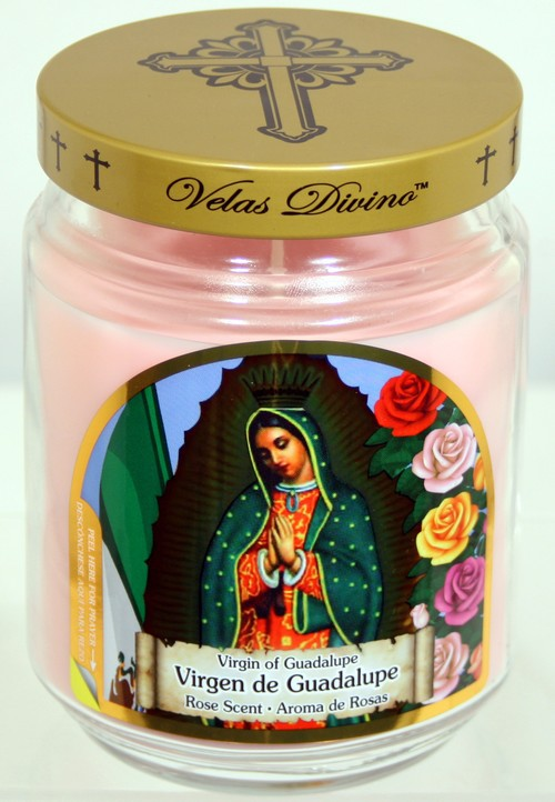 6 Virgin of Guadalupe Candles - 18oz Novena Candles