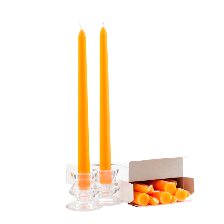 Wholesale Orange Taper Candles - 10 Inch - Unscented Case of 144