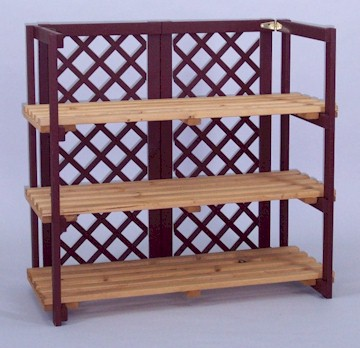 Solid Spruce folding shelf unit with 3 shelves
