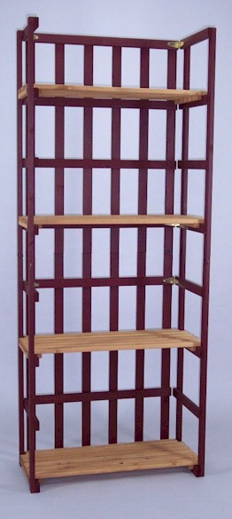 Solid Spruce folding shelf unit with 4 shelves