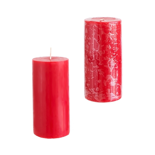 24 Red 3x6 Pillar Candles - Solid Hand Poured