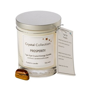 Wholesale Tiger Eye Crystal Candle - PROSPERITY - 13 oz Classic