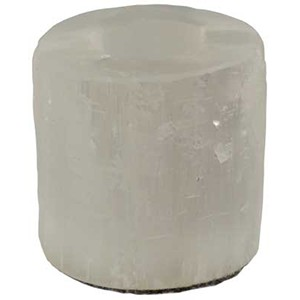 6 White Selenite Tealight Candle Holders