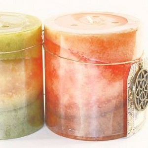 24 Tri Tone 2.75 x 3 Scented Pillar Candles - 4 Fragrances - Closeout