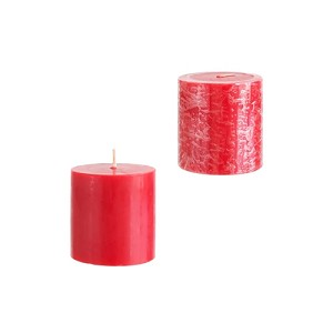 12 Red 3x3 Pillar Candles - Solid Hand Poured