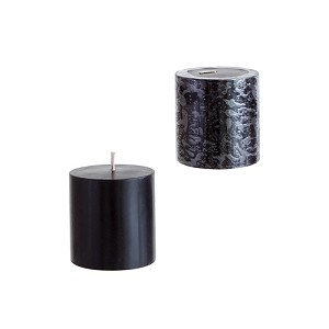 12 Black 3x3 Pillar Candles - Solid Hand Poured