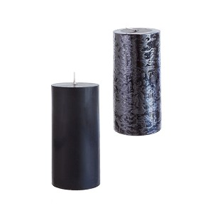 12 Black 3x6 Pillar Candles - Solid Hand Poured