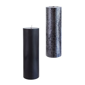 12 Black 3x9 Pillar Candles - Solid Hand Poured